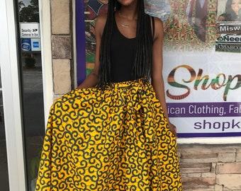 Yellow skirt, African skirt Ethnic print skirt/ Women's flare Skirt / Ankara skirt