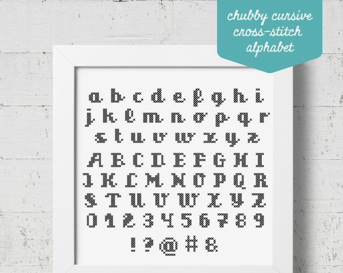 Featured listing image: Chubby Cursive Cross-stitch Alphabet Pattern - PDF Cross-stitch Pattern - INSTANT DOWNLOAD