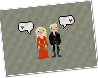 Buttercup & Wesley - The *Original* Pixel People in Love - PDF Cross-stitch Pattern - INSTANT DOWNLOAD