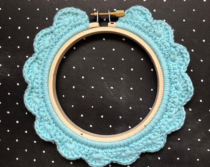 Featured listing image: 4 Inch Handstitched Hoop - Washed Teal - Crochet Embellished Embroidery Hoop - crocheted hoop - embroidery hoop - display hoop