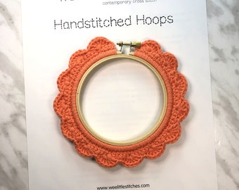 4 Inch Handstitched Hoop - Coral - Crochet Embellished Embroidery Hoop - crocheted hoop - embroidery hoop - display hoop