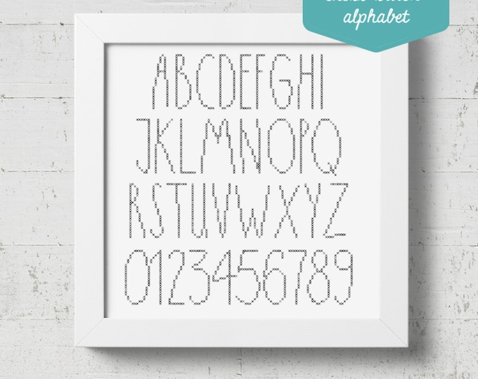 Featured listing image: Rae Dunn Inspired Cross-stitch Alphabet Pattern - PDF Cross-stitch Pattern - INSTANT DOWNLOAD