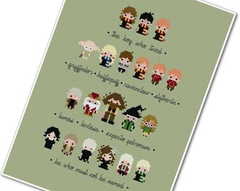Harry Potter Sampler - The *Original* Pixel People Minis - PDF Cross-stitch PATTERN - Instant Download