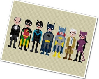 Batman & Friends - The *Original* Pixel People - PDF Cross-stitch Pattern - INSTANT DOWNLOAD