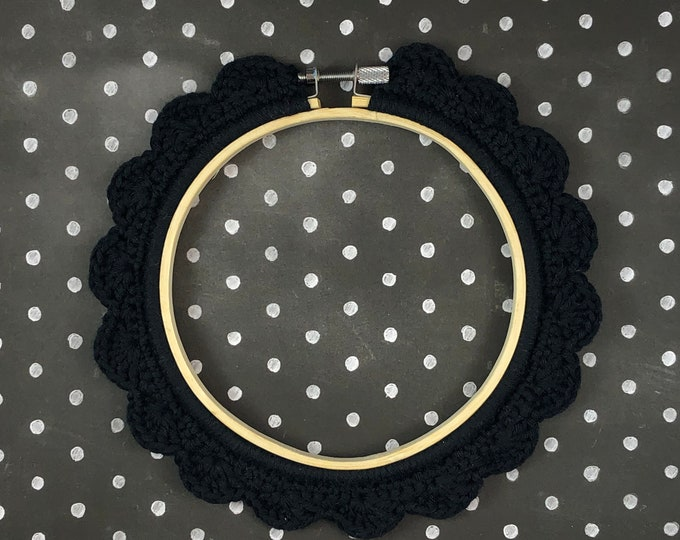 Featured listing image: 5 Inch Handstitched Hoop - Midnight Black - Crochet Embellished Embroidery Hoop - crocheted hoop - embroidery hoop - display hoop