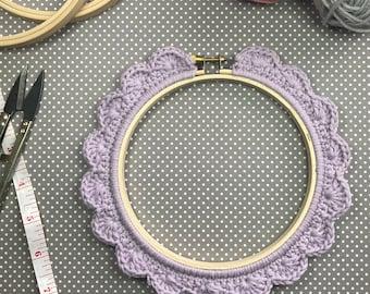 5 Inch Handstitched Hoop - Lilac - Crochet Embellished Embroidery Hoop - crocheted hoop - embroidery hoop - display hoop