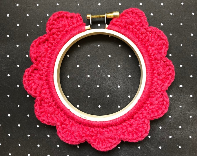 Featured listing image: 3 Inch Handstitched Hoop - Lipstick Pink - Crochet Embellished Embroidery Hoop - crocheted hoop - embroidery hoop - display hoop