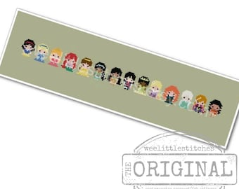 Storybook Princesses The *Original* Pixel People Minis -PDF Cross stitch Pattern - INSTANT DOWNLOAD