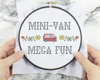Mini-Van, Mega Fun! - wee little samplers - PDF Cross-stitch Pattern - INSTANT DOWNLOAD