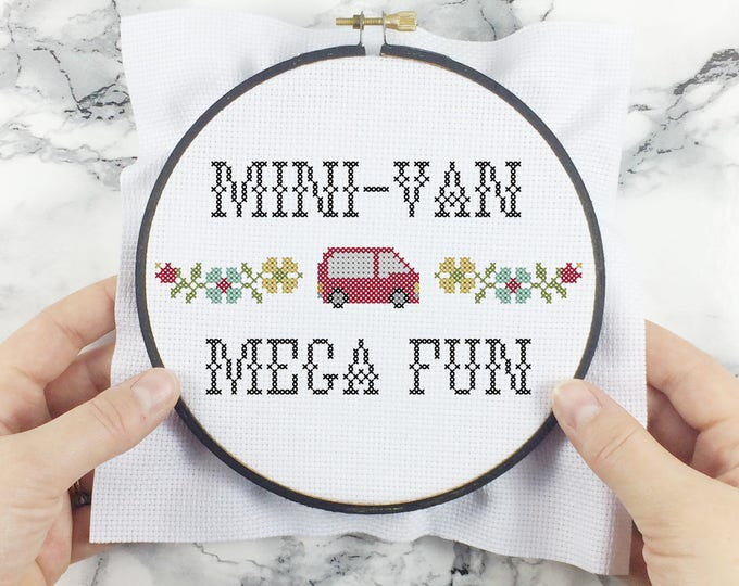 Featured listing image: Mini-Van, Mega Fun! - wee little samplers - PDF Cross-stitch Pattern - INSTANT DOWNLOAD