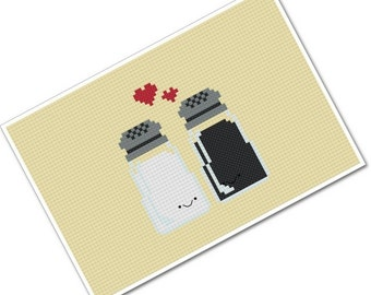Perfect Pairings - Kawaii Salt and Pepper - PDF Cross-stitch Pattern - INSTANT DOWNLOAD