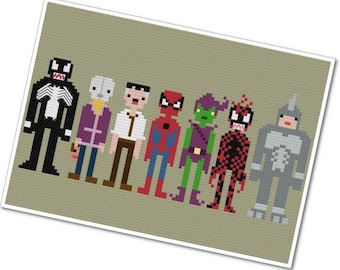 Spider-Man & Villains - The *Original* Pixel People - PDF Cross-stitch Pattern - INSTANT DOWNLOAD