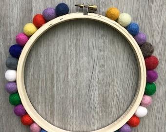 6 Inch Pom Pom Hoop - Rainbow - Embellished Embroidery Hoop - display hoop - embroidery hoop