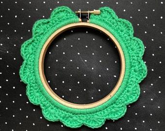4 Inch Handstitched Hoop - Spearmint Green- Crochet Embellished Embroidery Hoop - crocheted hoop - embroidery hoop - display hoop