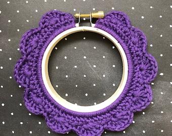 3 Inch Handstitched Hoop - Rich Mauve - Crochet Embellished Embroidery Hoop - crocheted hoop - embroidery hoop - display hoop