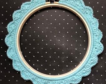6 Inch Handstitched Hoop - Washed Teal - Crochet Embellished Embroidery Hoop - crocheted hoop - embroidery hoop - display hoop