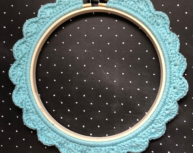 Featured listing image: 6 Inch Handstitched Hoop - Washed Teal - Crochet Embellished Embroidery Hoop - crocheted hoop - embroidery hoop - display hoop