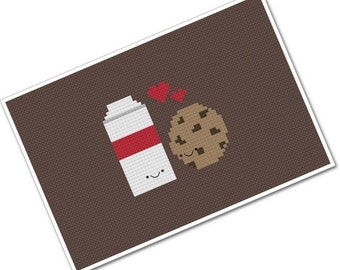 Perfect Pairings - Kawaii Milk and Cookie - PDF Cross-stitch Pattern - INSTANT DOWNLOAD