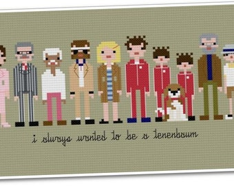 The Royal Tenenbaums - The *Original* Pixel People - PDF Cross-stitch Pattern - INSTANT DOWNLOAD