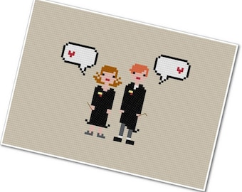 Hermione & Ron - The *Original* Pixel People In Love - PDF Cross-stitch Pattern - INSTANT DOWNLOAD