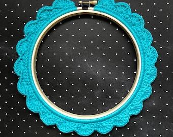 6 Inch Handstitched Hoop - Marine Blue - Crochet Embellished Embroidery Hoop - crocheted hoop - embroidery hoop - display hoop