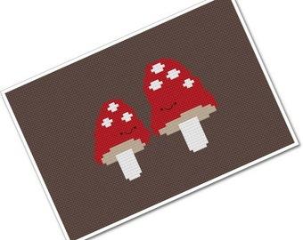 Kawaii Mushroom Pair PDF Cross-stitch Pattern - INSTANT DOWNLOAD