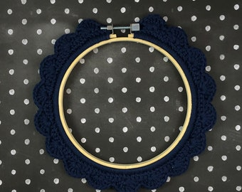 5 Inch Handstitched Hoop - Midnight Blue - Crochet Embellished Embroidery Hoop - crocheted hoop - embroidery hoop - display hoop