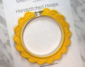 5 Inch Handstitched Hoop - Sunshine Yellow - Crochet Embellished Embroidery Hoop - crocheted hoop - embroidery hoop - display hoop