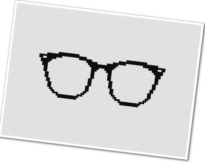 Featured listing image: Horn Rimmed Glasses - PDF Cross Stitch Pattern - INSTANT DOWNLOAD
