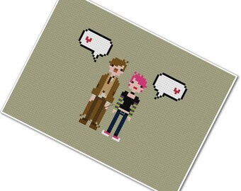 Lupin & Tonks - The *Original* Pixel People in Love - PDF Cross-stitch Pattern - INSTANT DOWNLOAD