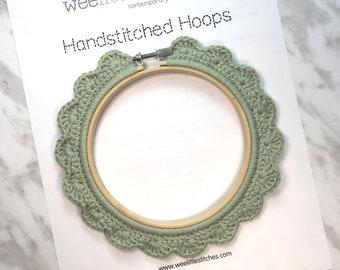 5 Inch Handstitched Hoop - Pistachio Green - Crochet Embellished Embroidery Hoop - crocheted hoop - embroidery hoop - display hoop
