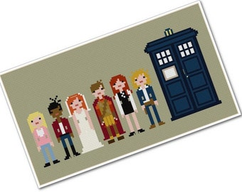 The Doctor's Companions - The *Original* Pixel People - PDF Cross-stitch Pattern - INSTANT DOWNLOAD
