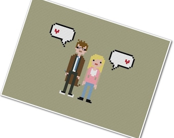The Tenth Doctor & Rose Tyler - The *Original* Pixel People in Love - PDF Cross-stitch Pattern - INSTANT DOWNLOAD