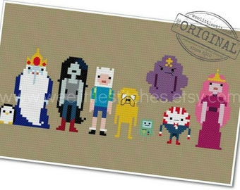Adventure Time - The *Original* Pixel People - PDF Cross-stitch PATTERN - Instant Download