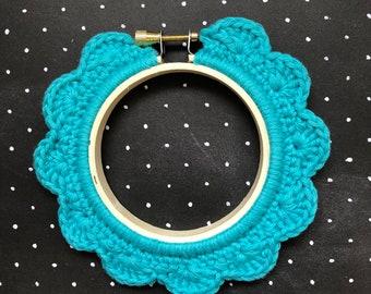 3 Inch Handstitched Hoop - Marine Blue - Crochet Embellished Embroidery Hoop - crocheted hoop - embroidery hoop - display hoop