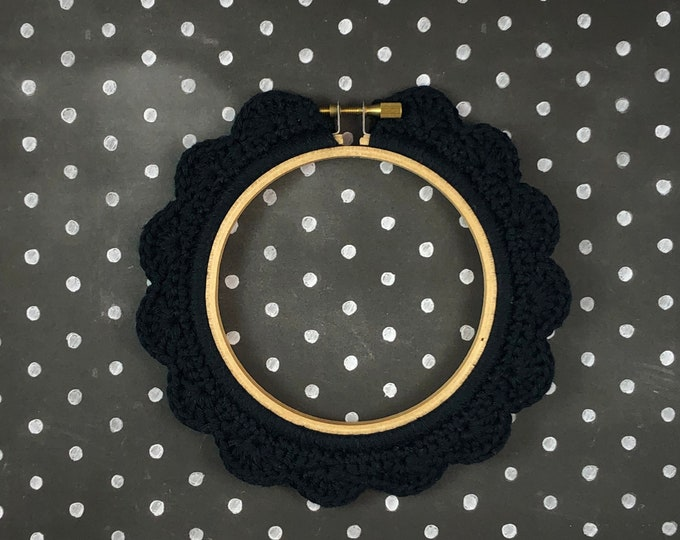 Featured listing image: 4 Inch Handstitched Hoop - Midnight Black - Crochet Embellished Embroidery Hoop - crocheted hoop - embroidery hoop - display hoop