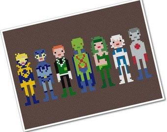 Justice League International - The *Original* Pixel People - PDF Cross-stitch Pattern - INSTANT DOWNLOAD