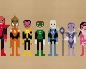 The Lantern Rainbow - The *Original* Pixel People - PDF Cross-stitch Pattern - INSTANT DOWNLOAD