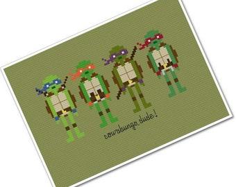 Teenage Mutant Ninja Turtles - The *Original* Pixel People - PDF Cross Stitch Pattern - INSTANT DOWNLOAD
