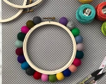 5 Inch Chunky Pom Pom Hoop - Rainbow - Embellished Embroidery Hoop - display hoop - embroidery hoop