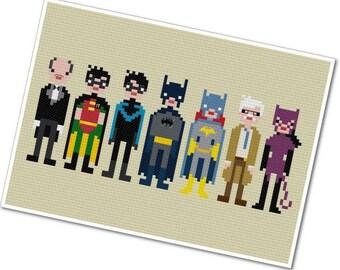 Batman & Friends - The *Original* Pixel People - PDF Cross-stitch Pattern - INSTANT DOWNLOAD