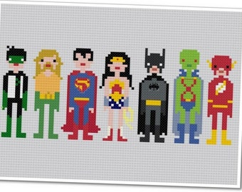 Justice League of America - The *Original* Pixel People - PDF Cross Stitch Pattern - INSTANT DOWNLOAD