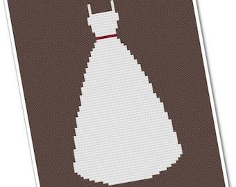 Wedding Dress - PDF Cross Stitch Pattern - INSTANT DOWNLOAD