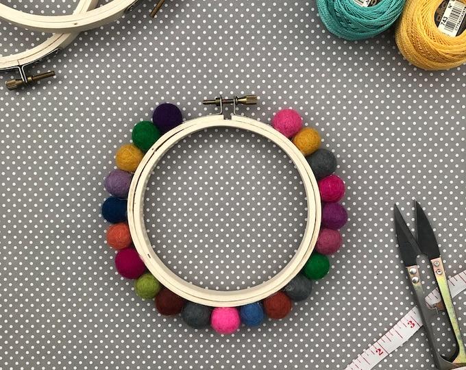 Featured listing image: 4 Inch Pom Pom Hoop - Rainbow - Embellished Embroidery Hoop - display hoop - embroidery hoop
