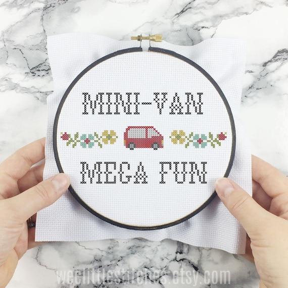 Mini Van Mega Fun Wee Little Samplers Pdf Cross Stitch Etsy