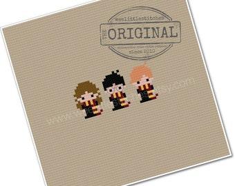 Harry, Ron, & Hermione - The *Original* Pixel People Minis - PDF Cross-stitch Pattern - INSTANT DOWNLOAD