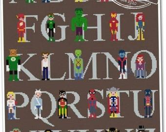 Superhero Alphabet Sampler - The *Original* Pixel People - PDF Cross stitch Pattern - INSTANT DOWNLOAD