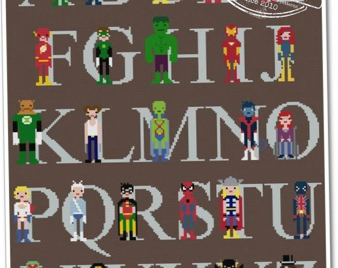 Featured listing image: Superhero Alphabet Sampler - The *Original* Pixel People - PDF Cross stitch Pattern - INSTANT DOWNLOAD