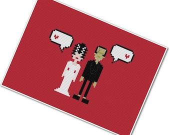 Frankenstein's Monster & The Bride - The *Original* Pixel People in Love - PDF Cross-stitch Pattern - INSTANT DOWNLOAD