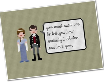 Elizabeth Bennet & Fitzwilliam Darcy - The *Original* Pixel People Quoteables - PDF Cross-stitch Pattern - INSTANT DOWNLOAD